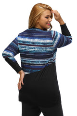 Bluish Striped Contrast Splice Plus Size Top