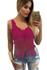 Rosy Lacy Crochet Cropped Vest Top