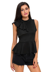 Wine Asymmetric Ruffle Side Peplum Top - Online Women Tops