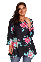 Black Asymmetric Cut Floral Plus Size Top
