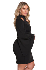 Black Plus Size Cut Out Bell Sleeve Bodycon Dress