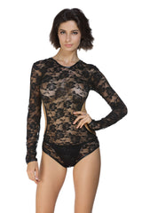 Black Floral Lace Full Sleeve Daring Back Teddy