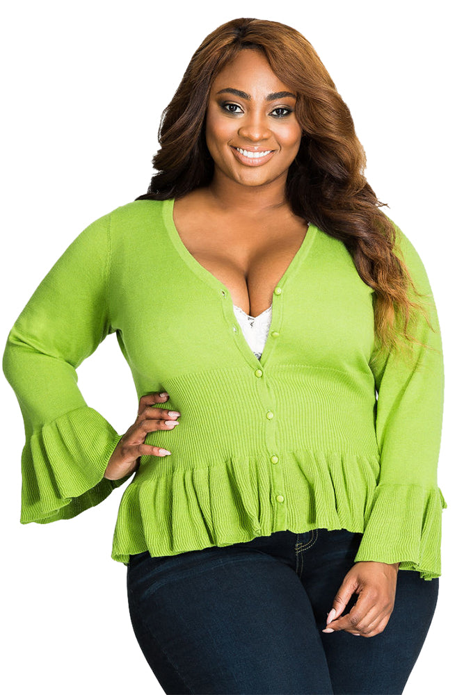 Green Ruffle Hem V Neck Plus Size Cardigan