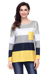 Color Block Pocket Pullover Tunic Top - Online Women Tops