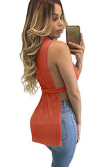 Orange Ribbed High Neck Side Split Top