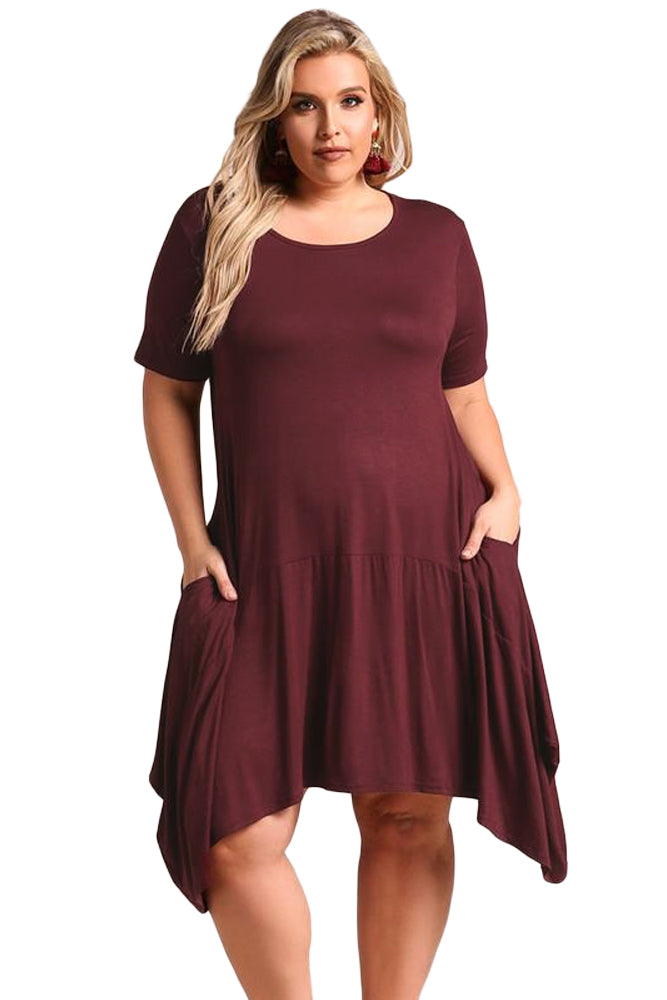 Burgundy Casual Pocket Style Plus Size Jersey Dress