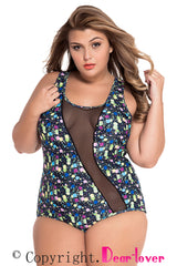 Sheer Mesh Accent Floral Print One-piece Swimwear