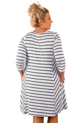 Grey White Stripes Relaxed Curvy Dress