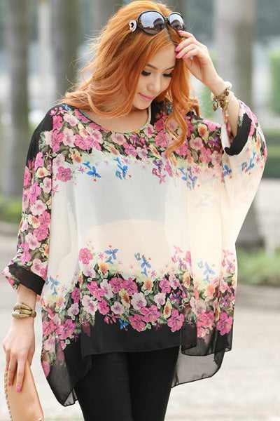 Transparent Chiffon Blouse with Floral Pattern