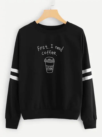 Varsity Striped Coffee Cup Print Pullover