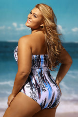 Abstract Print Style Plus Size One Piece Swimsuit