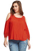 Red Gauze Crochet Trim Cold Shoulder Top