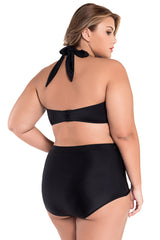 Black Halter Bandeau High Waist Plus Size Swimwear