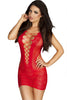 Red Crotchet Mesh Hollow-out Mini Chemise Dress