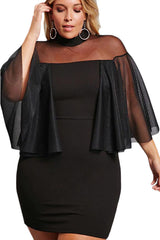 Black Plus Size Semi-sheer Dress
