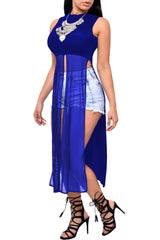 Royal Blue Mesh Patchwork Sleeveless High Side Split Club Top