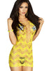 Yellow Crocheted Lace Hollow-out Chemise Dress