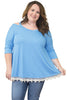Light Blue Cold Shoulder Lacy Hem Plus Size Blouse