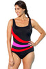Red and Orchid Spliced Plus Size One-piece Swimsuit