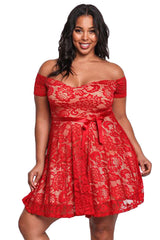 Red Plus Size Floral Lace Flared Off Shoulder Dress