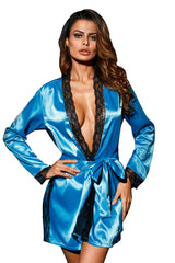 Shiny Blue Lace Trim Satin Robe