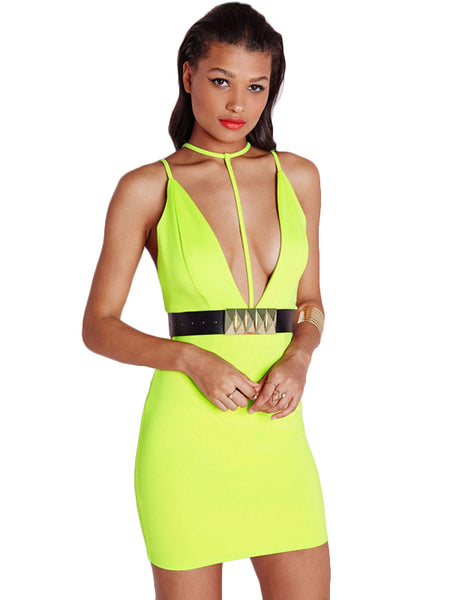 Lime T Front Strap Bodycon Dress with Belt
