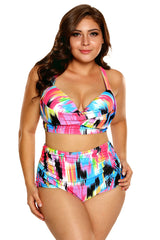 Ikat Print Curvy High Waist Bikini Swimsuit
