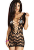 Black Crocheted Lace Hollow-out Chemise Dress