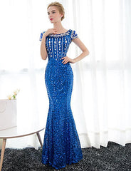Mermaid Satin Sequined Evening Dress - Online Women Evening Dresses