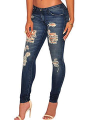 Dark Sandblast Denim Destroyed - Online Women Jeans