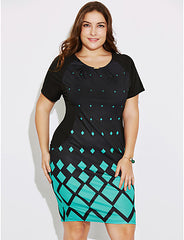 Women's Going out Casual/Daily Plus Size Simple Bodycon Dress,Geometric Print Round Neck Knee-length Short Sleeves Polyester Spring Summer