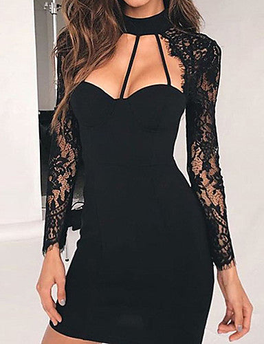 Women's Casual/Daily Sexy Cute A Line Dress,Solid V Neck Above Knee Long Sleeves Polyester Fall Winter Mid Rise Micro-elastic Medium