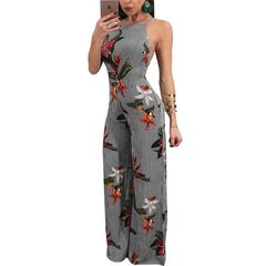 Backless Strap Print Sexy Jumpsuit Wide Leg Playsuit - Online Women Jumpsuit