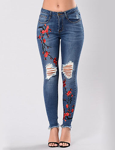 High Rise Micro-elastic Skinny Jeans Pants,Sexy Street chic Skinny Jeans Ripped Embroidered Embroidered