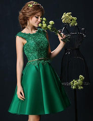 Chartreuse with Lace Sash Online Women Homecoming Dress
