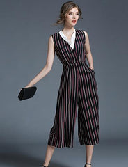 Beach Going Casual Patchwork - Online Women Jumpsuit