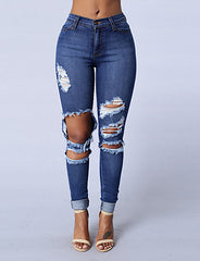 Skinny Jeans PantsGoing out Casual/Daily Simple Street chic Solid Mid Rise Hole Slim Hin Thin Zipper Micro-elastic Spring Fall