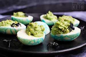 Spooky Spiderweb Deviled Eggs