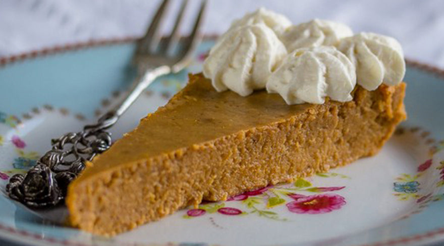 Crustless-Low-Carb-Pumpkin-Pie-with-fork-on-a-flowery-plate