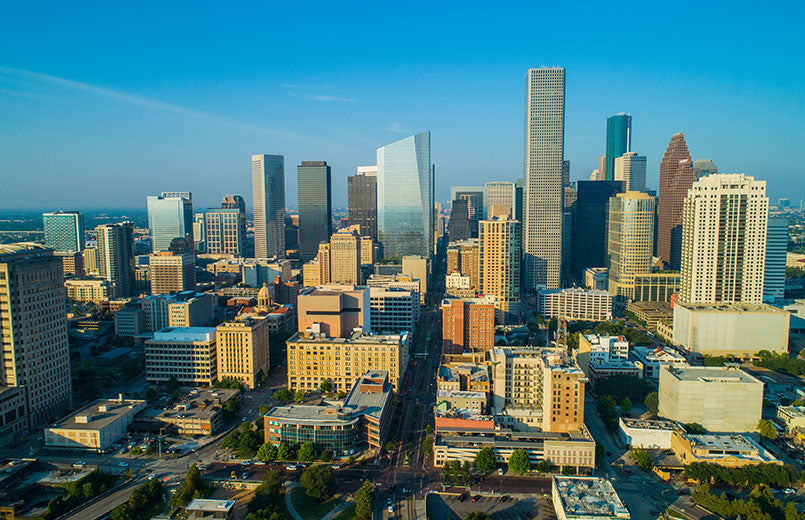 arial-view-of--downtown-Houston-Texas-skyscrapers-business-district