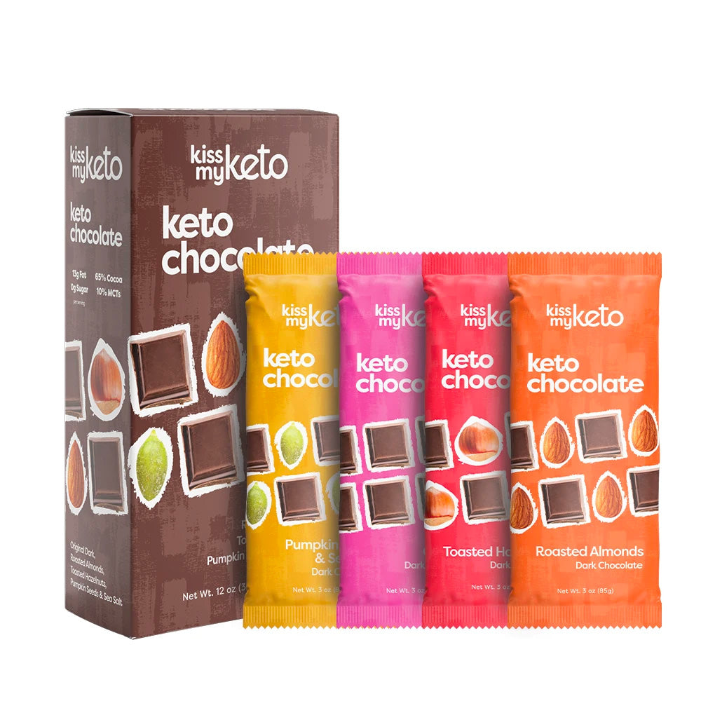 keto dark chocolate in four flavors