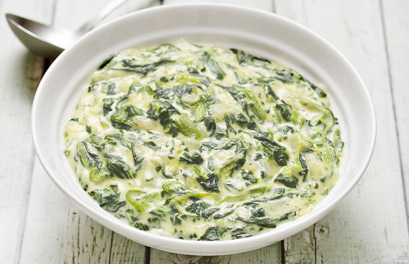 close-up-of-a-bowl-of-rustic-creamed-spinach