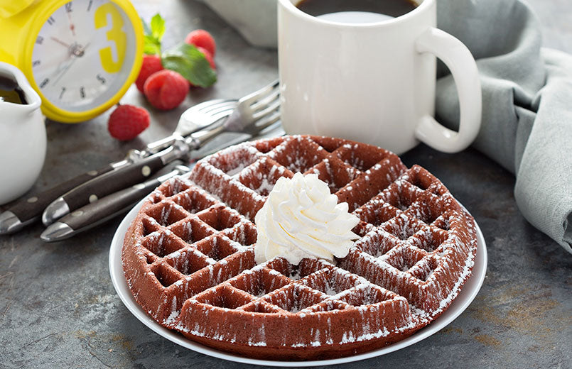 cocoa-waffle-and-cup-of-coffee-on-a-table