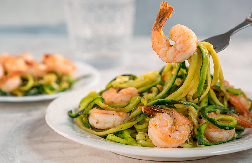 shrimps-with-zucchini-Noodles-on-a-plate