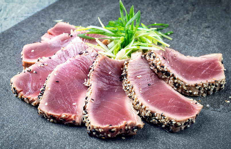 tuna-slices-with-sesame-seeds-on-a-table