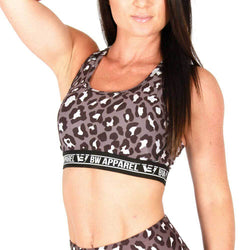 Ladies Sports Bra BW Athletic Ladies Leopard Crop Top [Grey] - Chrome Supplements and Accessories