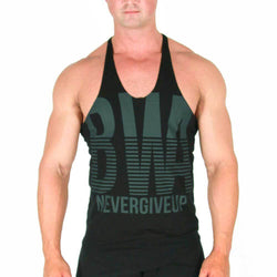 Men's Stringer BW Athletic Mens Pinstripe Stringer Vest [Black] - Chrome Supplements and Accessories