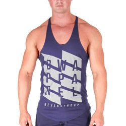 Men's Stringer BW Athletic Mens Zig Zag Stringer Vest [Navy] - Chrome Supplements and Accessories