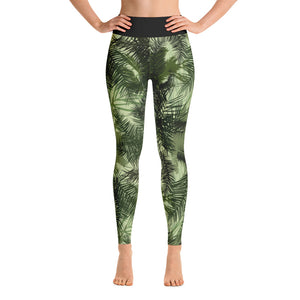 Green Tropic Yoga Leggings, Leggings With Tropic Print Yoga Leggings, LovelyEventsCrafts Leggings