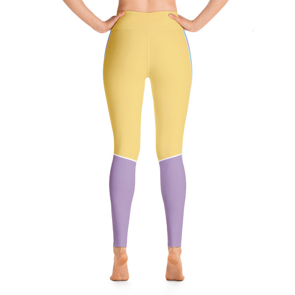 Patterned Tropic Yellow Purple Workout Yoga Leggings